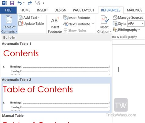 word 2013 table of contents template how do you add a contents page in word 2010 how to create a table of contents in word 2010