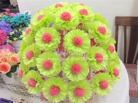 How To Make Tissue Paper Daisies - flower by tissue paper theme pink lime green