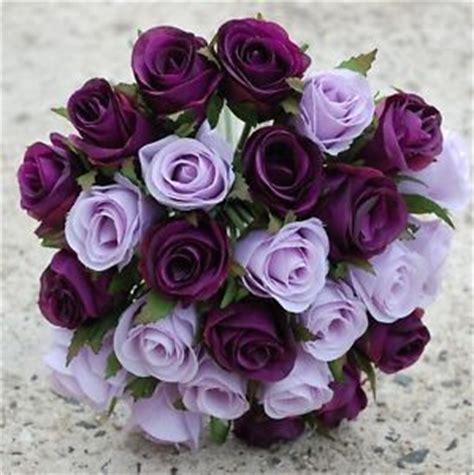 silk wedding bouquet purple pre made posy roses