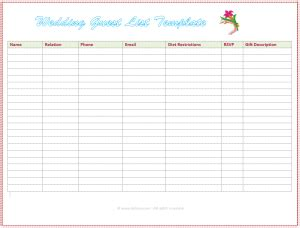 6 Free Wedding Guest List Templates Excel Pdf Formats Wedding Guest List Template Excel