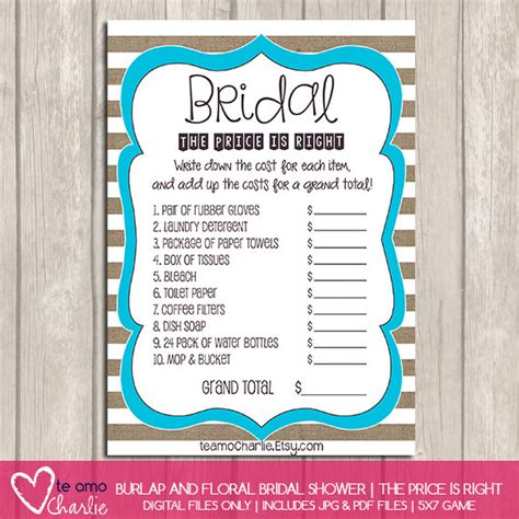 price is right bridal shower template the price is right bridal shower by palmbeachprints