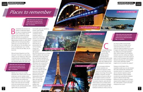 indesign template of the month magazine spread