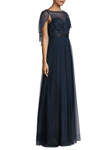 black beaded gown lyst basix black label beaded capelet gown in blue