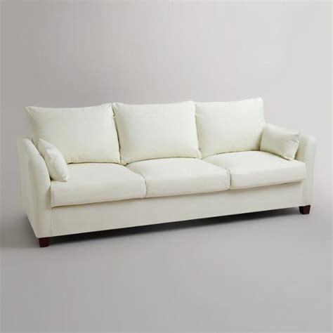 market luxe sofa slipcover ivory luxe three seat sofa canvas slipcover market