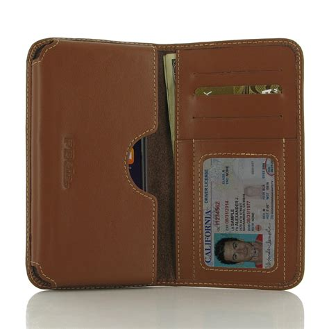 iphone 6 6s in slim cover leather wallet sleeve brown pdair