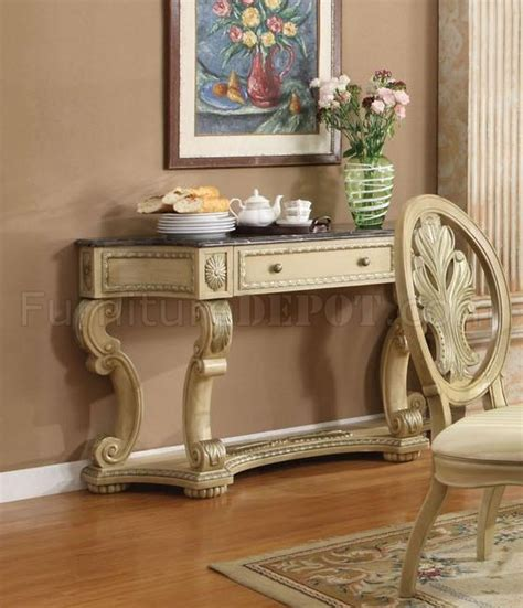 antique white finish dining table w pedestal base