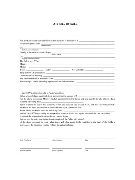 bill of sale template for atv atv bill of sale form 9 free templates in pdf word