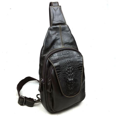 139 Leather Sling Bag Black Import genuine leather mens black shoulder bag sling pack small front pocket crossbody ebay