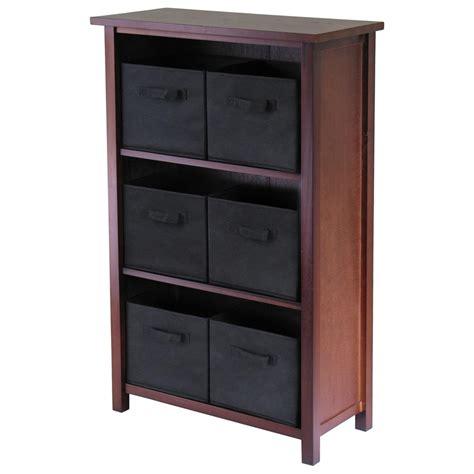 Black Storage Shelves Winsome 174 Verona 3 Section Storage Shelf With 6 Foldable