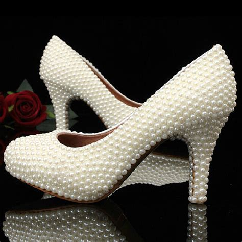 15 Most Beautiful Evening Shoes by Aliexpress Buy Beautiful White Pearls Closed Toe