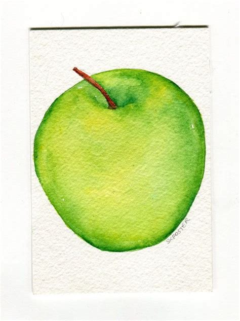 watercolor tutorial apple green apple painting watercolor kitchen art 4 x 6