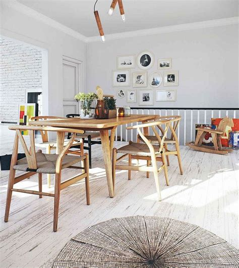 Dining Area Furniture Light Filled Scandinavian Dining Area With Wishbone Chairs