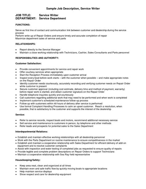 resume format for automotive service manager service writer description letters free sle letters