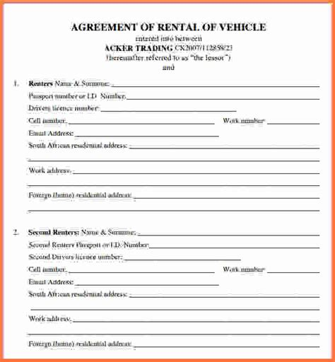 truck rental agreement template car rental agreement car lease agreement template png