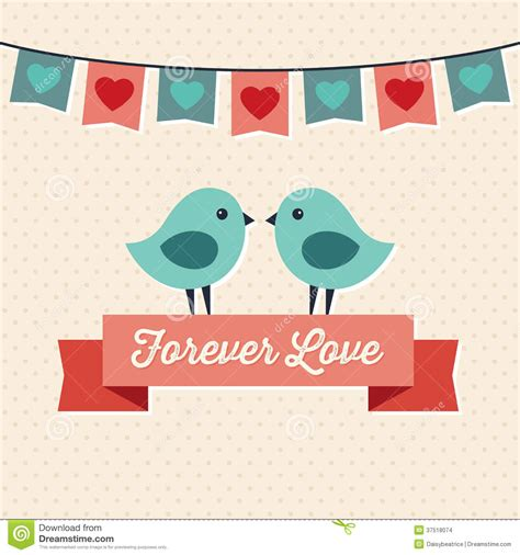 design banner cute love card design with two cute birds stock images image