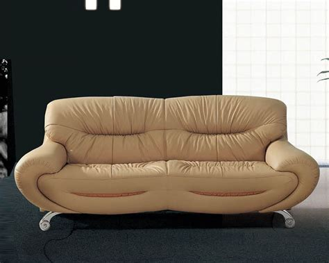 European Design Leather Sofa In Beige Finish 33ss92 European Leather Sofa