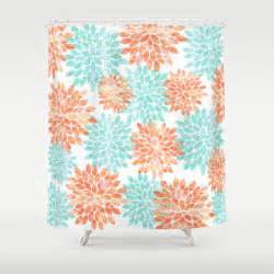 aqua and coral flowers shower curtain by sylvia cook