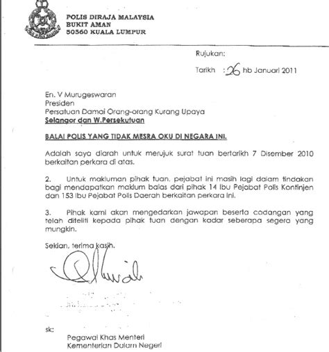 Official Letter Best Regards Response Letter From Ketua Polis Negara With Regards To