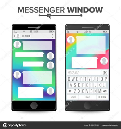 chat wallpaper for mobile smartphone isolated on white background messenger window