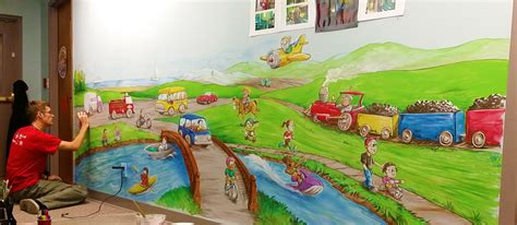 daycare wall murals transportation daycare mural free sky studios professional mural painting sign painting and