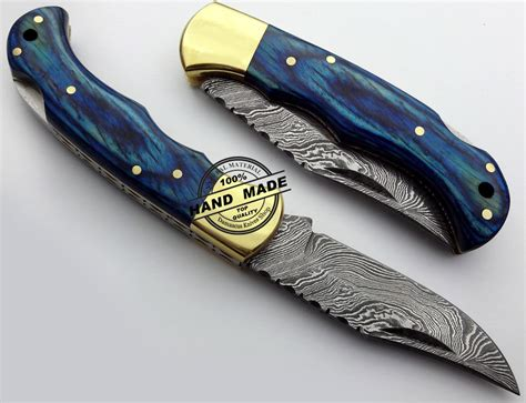 Handcrafted Pocket Knives - damascus folding back lock knife custom handmade damascus