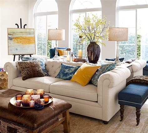 chesterfield upholstered sofa  cm pottery barn au