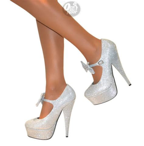 silver high heels with bows silver glitter heels with bow www pixshark images