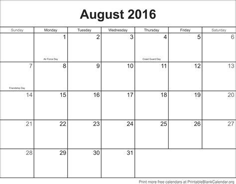 Calendar August 2016 Free Calendar August 2016 Printable Blank Calendar Org