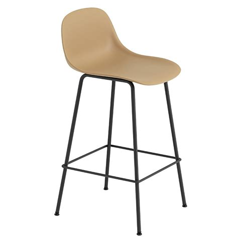 Black Bar Stool With Backrest by Muuto Fiber Bar Stool With Backrest Base Ochre