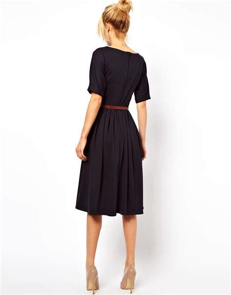 asos asos midi dress with skirt and belt at asos