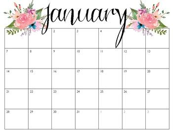 Pretty Weekly Calendar Template pretty calendars january december 2018 by find me in