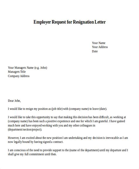 resignation letter templates ms word