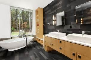 Amazing Revetement De Sol Sur Carrelage #6: Salle-bain-bois-sol-imitation-parquet-gris-meubles.jpg