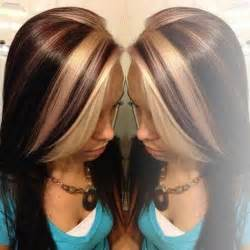 how to add colour chunks to hairstyles blonde chunks on copper brown hair pics
