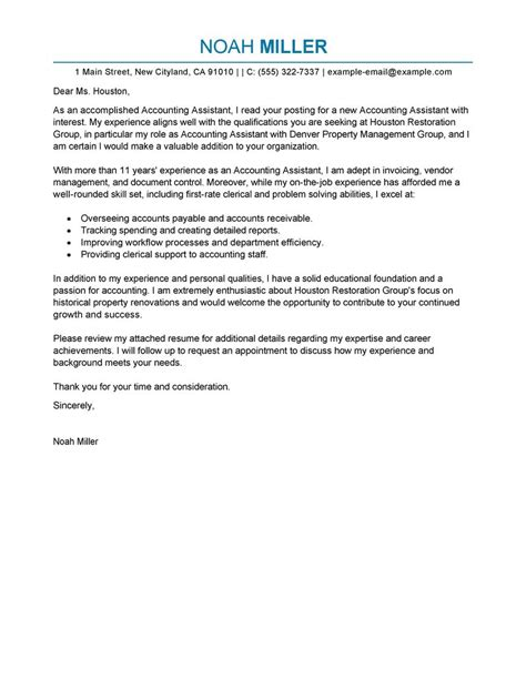 cover letter for accounting assistant best accounting assistant cover letter exles livecareer