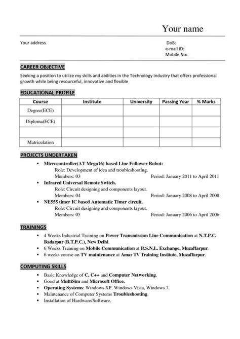 Resume Format Doc For Mechanical Engineers Freshers sle resume format for mechanical engineering freshers