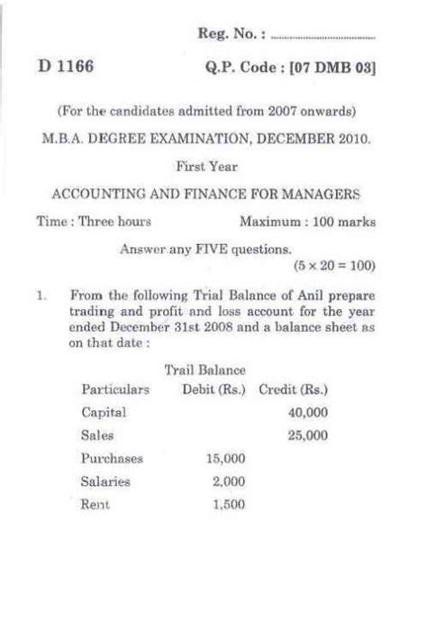 Questions For Mba Students In Finance by Papers On Accounting