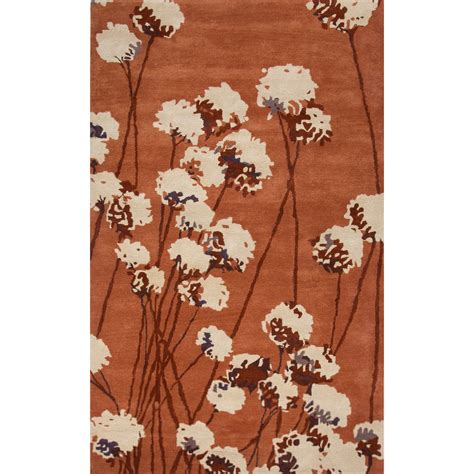 Orange Area Rug 5x8 Contemporary Floral Leaves Pattern Orange Ivory Wool Area Rug 5x8 Walmart