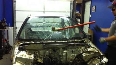 smash honda honda civic windshield smash whit a sledge hammer