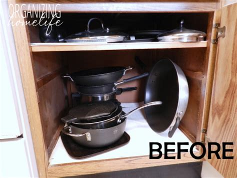 organize pots and pans in cabinet diy knock organization for pots pans how to