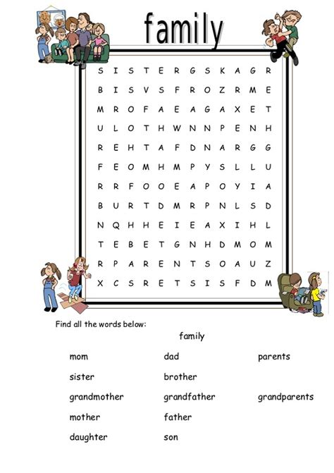 Search Family Family Word Search Printable Activity Shelter