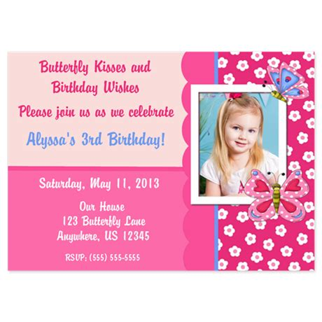 butterfly invitation card template pink butterfly birthday invitation 5x7 flat cards by