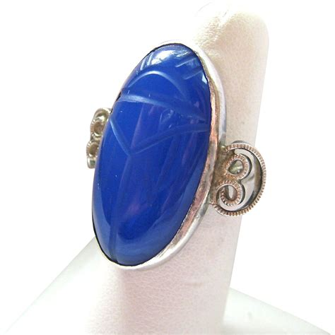 sterling silver 925 gemstone scarab ring large from