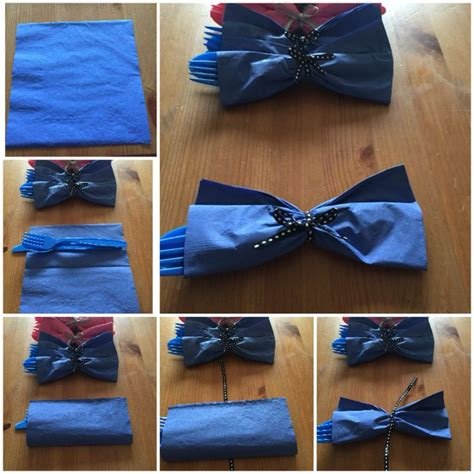 Folding Paper Napkins With Ribbon - gender reveal turn napkins and cutlery into bow ties and