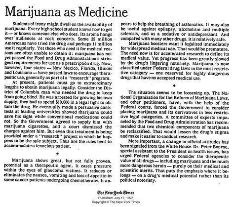 Legalization Of Marijuana Essay Outline by A Century Later The New York Times Rejects The Anti Marijuana Propaganda It Peddled