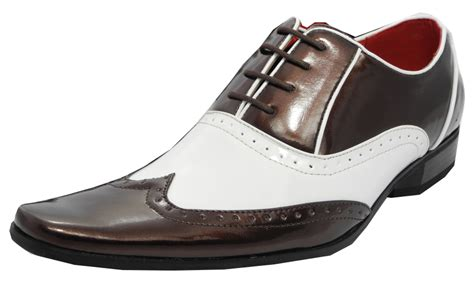spats shoes mens patent shiny spats brogues gatsby shoes white brown 6
