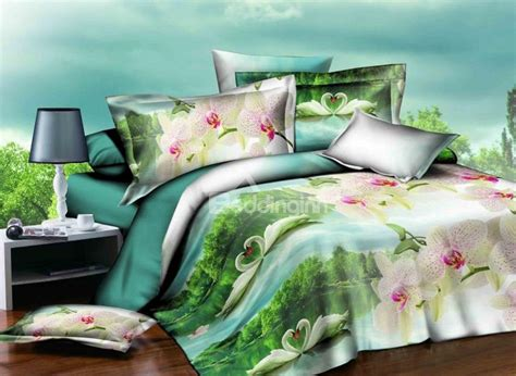 white swan couple in lake and green woods print 4 piece polyester duvet cover sets beddinginn com