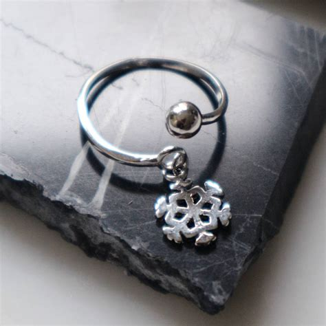 sterling silver snowflake charm ring by junk jewels