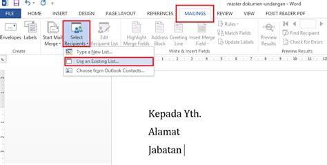 membuat surat berantai dengan mail merge cara membuat surat masal dengan mail merge ade edublog