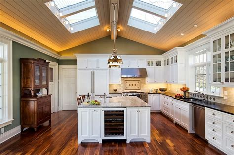 dramatic vaulted ceiling in kitchen traditional 25 captivating ideas for kitchens with skylights